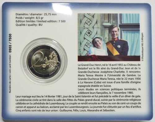 Zertifikat:Luxemburg : 2 Euro 40. Hochzeitstag des großherzoglichen Paares  2021 Stgl.