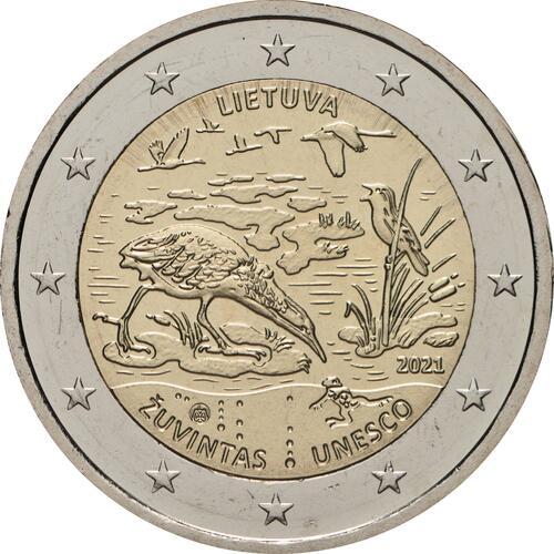 Rückseite:Litauen : 2 Euro Zuvintas Biosphärenreservat  2021 bfr