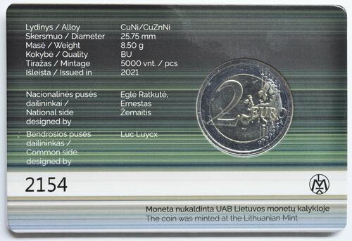 Zertifikat:Litauen : 2 Euro Zuvintas Biosphärenreservat  2021 Stgl.