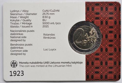 Zertifikat:Litauen : 2 Euro Dzukija  2021 Stgl.