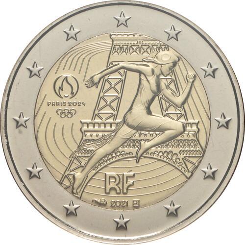Rückseite:Frankreich : 2 Euro Läuferin 5 Coincards in den Farben violett, gelb, rot, grün, blau  2021 bfr