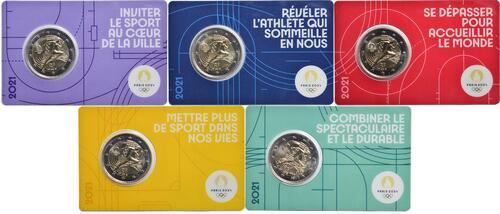 Lieferumfang:Frankreich : 2 Euro Läuferin 5 Coincards in den Farben violett, gelb, rot, grün, blau  2021 bfr