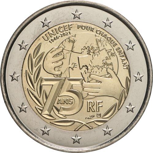 Rückseite:Frankreich : 2 Euro 75 Jahre UNICEF  2021 bfr