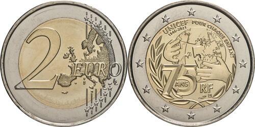 Lieferumfang:Frankreich : 2 Euro 75 Jahre UNICEF  2021 bfr