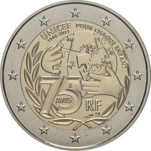 Rückseite:Frankreich : 2 Euro 75 Jahre UNICEF  2021 Stgl.