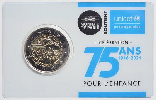 Lieferumfang:Frankreich : 2 Euro 75 Jahre UNICEF  2021 Stgl.