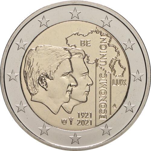 Rückseite:Belgien : 2 Euro 100. Jahrestag der Gründung der Belgisch-Luxemburgischen Wirtschaftsunion  2021 Stgl.