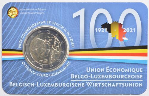 Lieferumfang:Belgien : 2 Euro 100. Jahrestag der Gründung der Belgisch-Luxemburgischen Wirtschaftsunion  2021 Stgl.