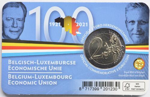 Zertifikat:Belgien : 2 Euro 100. Jahrestag der Gründung der Belgisch-Luxemburgischen Wirtschaftsunion  2021 Stgl.