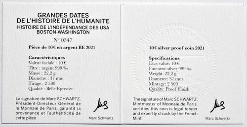 Zertifikat:Frankreich : 10 Euro Washington  2021 PP