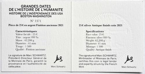 Zertifikat:Frankreich : 25 Euro Washington  2021 PP