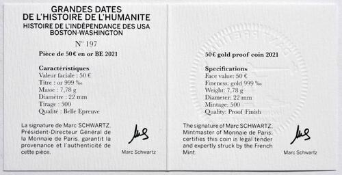 Zertifikat:Frankreich : 50 Euro Washington  2021 PP