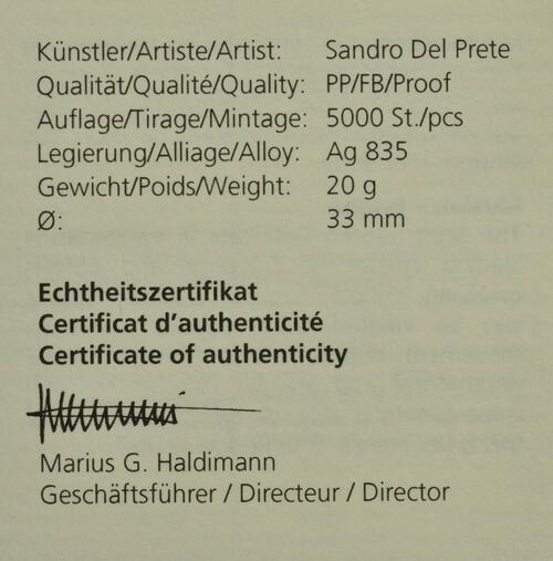 Zertifikat:Schweiz : 20 Franken Illusion-Viadukt des Lebens  2021 PP