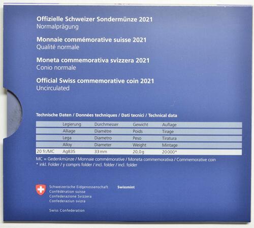 Zertifikat:Schweiz : 20 Franken Illusion-Viadukt des Lebens  2021 Stgl.
