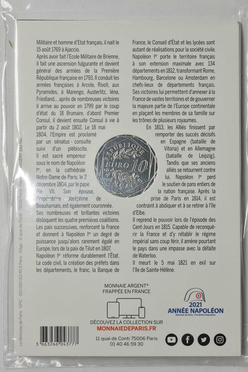 Zertifikat:Frankreich : 10 Euro Napoleon  2021 Stgl.