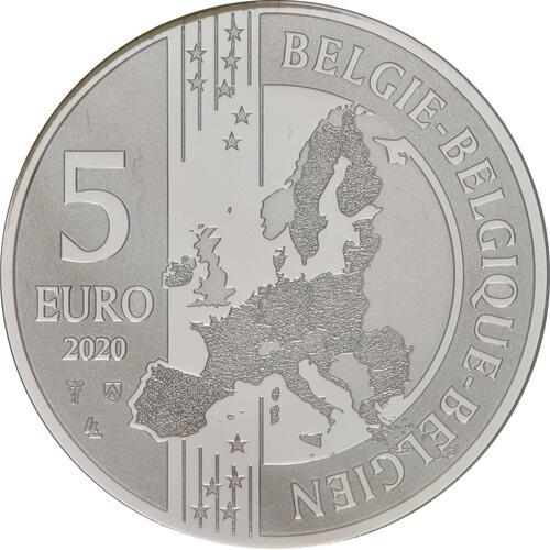 Rückseite:Belgien : 5 Euro Team Belgien  2021 Stgl.