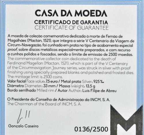 Zertifikat:Portugal : 7,5 Euro 1521 Mactan  2021 PP