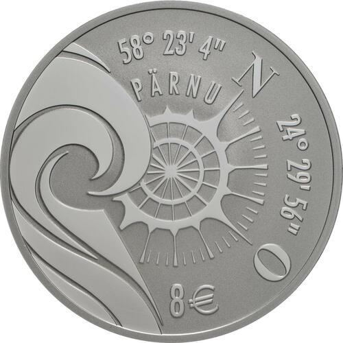 Vorderseite:Estland : 8 Euro Hansestadt Parnu  2021 PP
