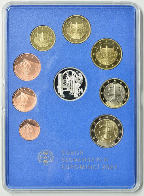 Vorderseite:Slowakei : 3,88 Euro KMS Slowakei 100 Jahre Münzprägung  2021 PP
