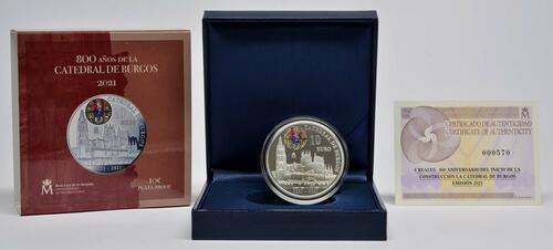 Lieferumfang:Spanien : 10 Euro 800 Jahre Kathedrale von Burgos  2021 PP