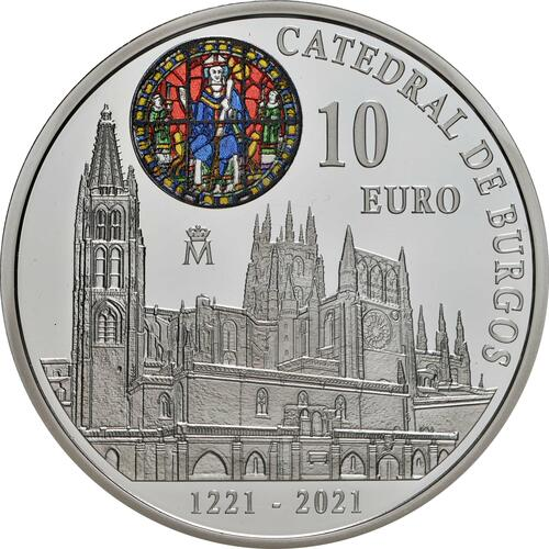 Vorderseite:Spanien : 10 Euro 800 Jahre Kathedrale von Burgos  2021 PP