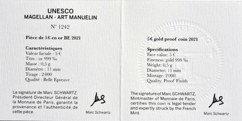 Zertifikat:Frankreich : 5 Euro Magellan  2021 PP