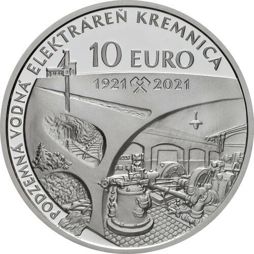 Rückseite:Slowakei : 10 Euro 100 J. Kavernenwasserkraftwerk Kremnica  2021 PP