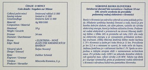 Zertifikat:Slowakei : 10 Euro 100 J. Kavernenwasserkraftwerk Kremnica  2021 PP