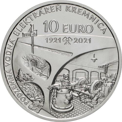 Rückseite:Slowakei : 10 Euro 100 J. Kavernenwasserkraftwerk Kremnica  2021 Stgl.
