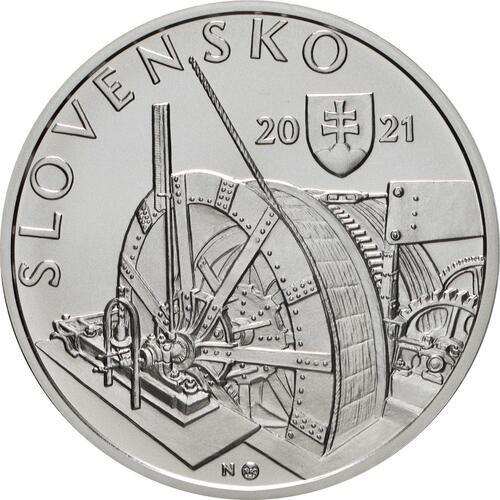 Vorderseite:Slowakei : 10 Euro 100 J. Kavernenwasserkraftwerk Kremnica  2021 Stgl.
