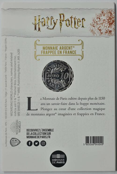 Zertifikat:Frankreich : 10 Euro Ron, Harry & Hermione 9/18  2021 Stgl.