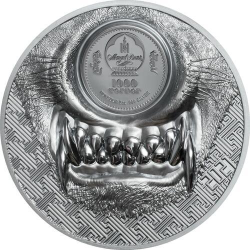 Vorderseite:Mongolei : 500 T Mystic Wolf  2021 Stgl.