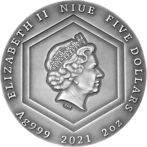 Rückseite:Niue : 5 Dollar Honigbiene - Antik Finish   2021 Stgl.