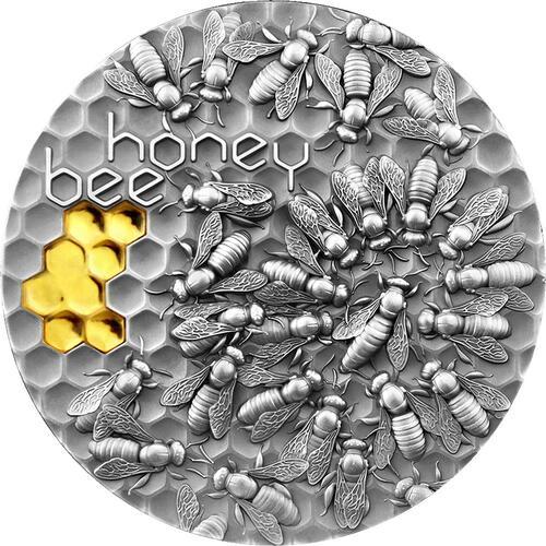 Vorderseite:Niue : 5 Dollar Honigbiene - Antik Finish   2021 Stgl.
