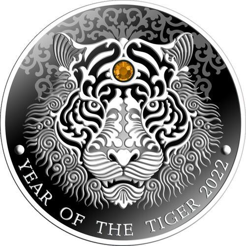 Vorderseite:Ghana : 2 Cedi Jahr des Tigers  2022 PP
