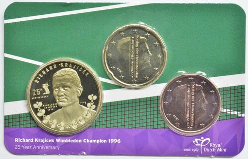 Lieferumfang:Niederlande : 0,25 Euro Richard Krajicek 20 Cent, 5 Cent und Medaille  2021 Stgl.