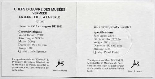Zertifikat:Frankreich : 250 Euro Johannes Vermeer  2021 PP