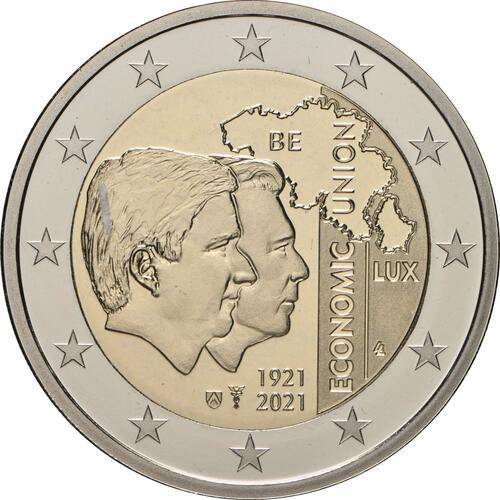 Rückseite:Belgien : 2 Euro 100. Jahrestag der Gründung der Belgisch-Luxemburgischen Wirtschaftsunion  2021 PP