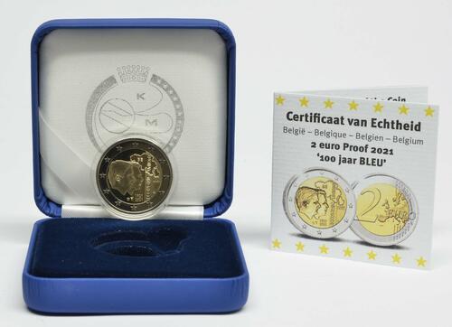 Lieferumfang:Belgien : 2 Euro 100. Jahrestag der Gründung der Belgisch-Luxemburgischen Wirtschaftsunion  2021 PP