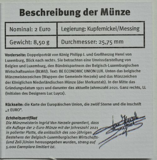 Zertifikat:Belgien : 2 Euro 100. Jahrestag der Gründung der Belgisch-Luxemburgischen Wirtschaftsunion  2021 PP