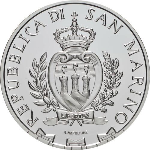 Rückseite:San Marino : 5 Euro Fußball  2021 PP
