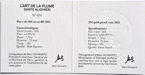 Zertifikat:Frankreich : 50 Euro Dante Alighieri  2021 PP