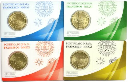 Rückseite:Vatikan : 50 Cent 4x 50 Cent + Briefmarken  2021 bfr