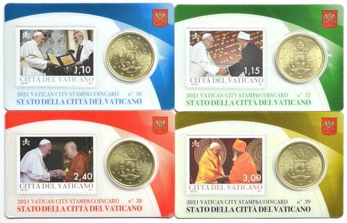 Lieferumfang:Vatikan : 50 Cent 4x 50 Cent + Briefmarken  2021 bfr