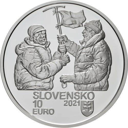 Rückseite:Slowakei : 10 Euro 50 J. Slowak. Bergsteiger auf Nanga Parbat  2021 PP