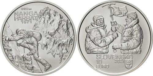 Lieferumfang:Slowakei : 10 Euro 50 J. Slowak. Bergsteiger auf Nanga Parbat  2021 Stgl.