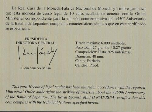 Zertifikat:Spanien : 10 Euro 450 Jahre Schlacht von Lepanto  2021 PP