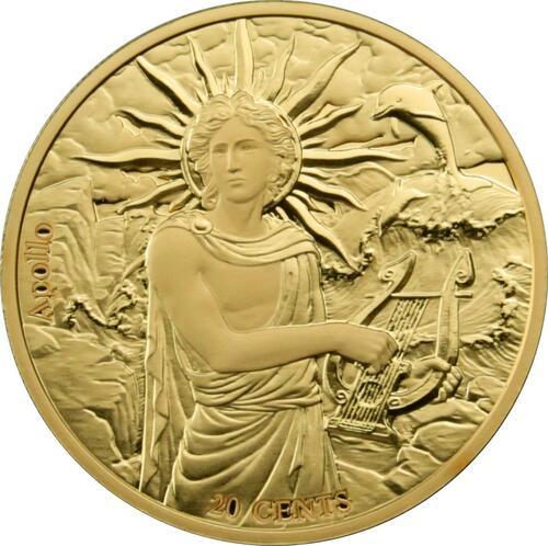 Vorderseite:Samoa : 0,2 Dollar Die zwölf Olympiers im Tierkreis - Apollo vs Zwillinge  2021 Stgl.