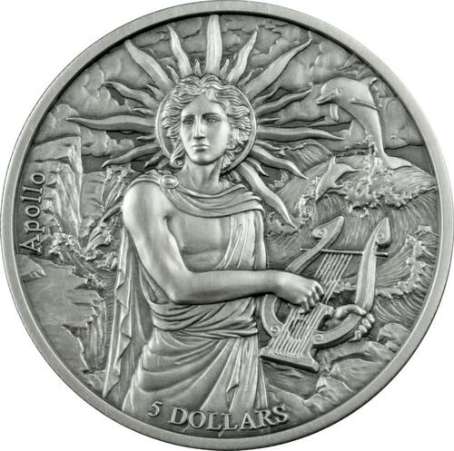 Lieferumfang:Samoa : 5 Dollar Die zwölf Olympiers im Tierkreis - Apollo vs Zwillinge - Antik Finish  2021 Stgl.