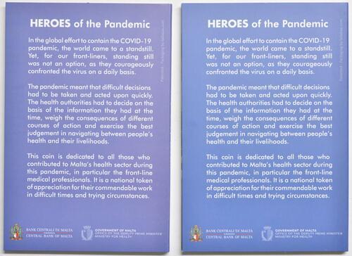 Zertifikat:Malta : 2 Euro 2x2 Euro Helden der Pandemie Variante Blister blau (Standard) + violett (extrem selten)  2021 Stgl.